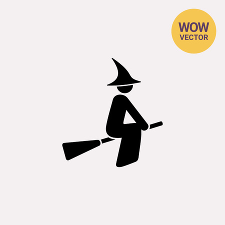 Witch on Broomstick Icon Illustration