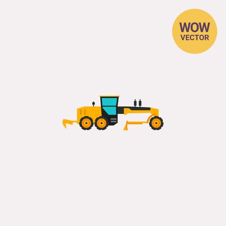 grader: Yellow construction road grader icon