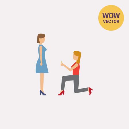 Woman making proposal Illustration