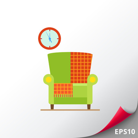 living room wall: Armchair with checkered rug Illustration