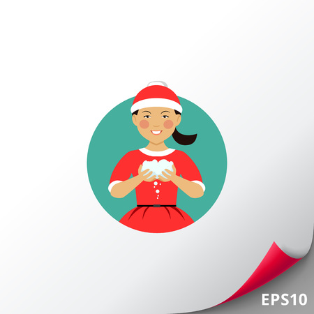 Asian girl holding snowballs Illustration