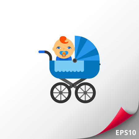 Baby carriage with baby Illustration