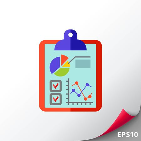 Business Data and Graphs on Clipboard Icon