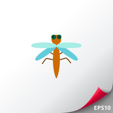 feeler: Cartoon dragonfly icon Illustration