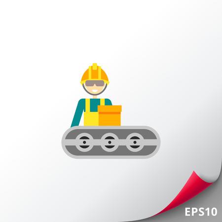 Conveyor belt operator at work