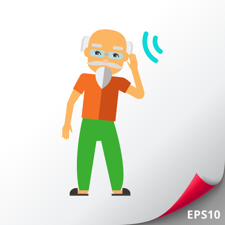Deaf Old Man Trying to Hear Sound Icon