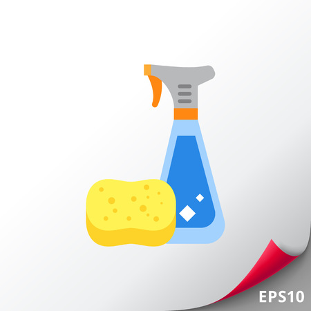 cleaning kitchen: Detergent in Spray Bottle and Sponge Icon