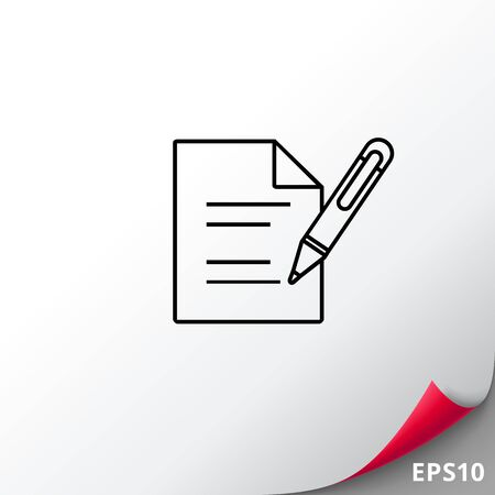 signing papers: Document with Pen Icon