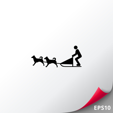 sledge dog: Vector icon of dogteam and sled with man ruling