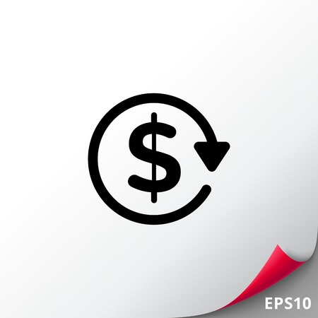 economic cycle: Vector icon of dollar sign in circle made of arrow