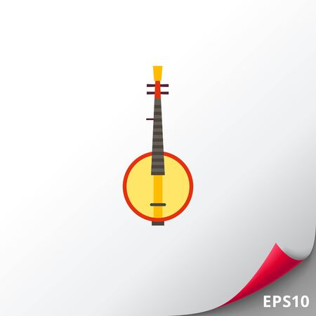 Multicolored flat icon of Russian traditional instrument domra
