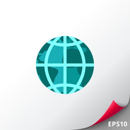 Icono del vector del globo terráqueo con los meridianos y paralelos, aislado en blanco Vectores