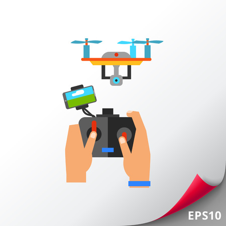 Multicolored flat icon of human hands holding remote control and flying drone