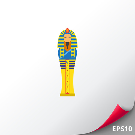 Vector icon of golden Egyptian pharaoh sarcophagus