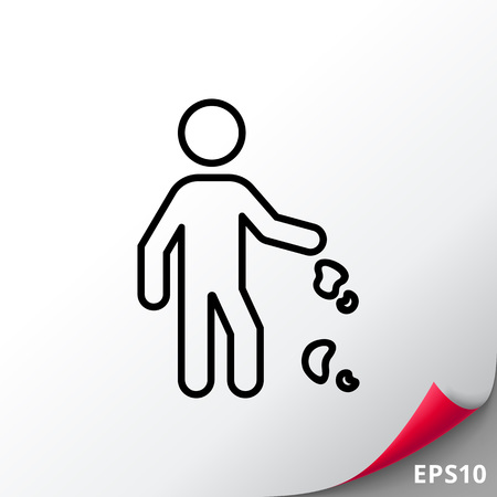 Icon of man silhouette dropping litter Illustration