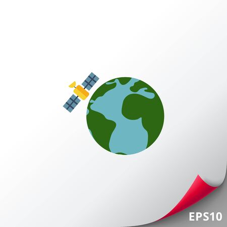 space station: Multicolored vector icon of Earth globe and satellite