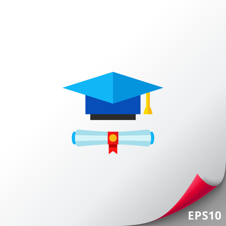 Diploma scroll and blue graduate hat with yellow tassel. Graduation, knowledge, learning. Education concept. Can be used for topics like study, teaching, education.