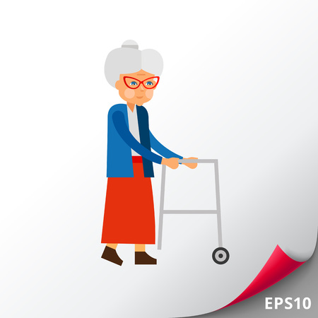 Elderly woman with rolling walkers. Aging, old person, age. Aging concept. Can be used for topics like old people, disabled people, aging