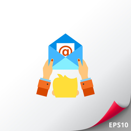 Human head and hands holding open envelope with at sign. News, message, delivering. E-mail marketing concept. Can be used for topics like business, advertisement, marketing.