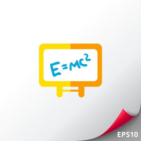 Icon of Einsteins energy formula written on white board Illustration