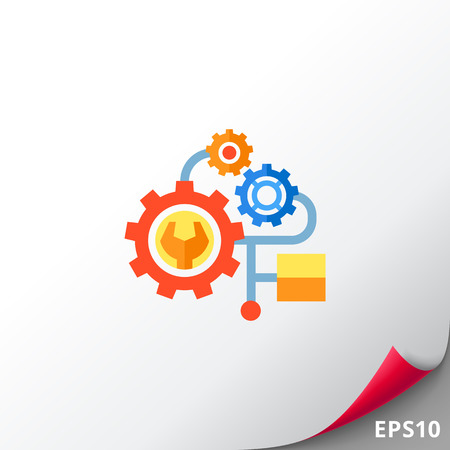 metodo cientifico: Multicolored vector icon of several gears of one mechanism representing engineering concept