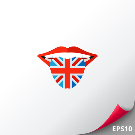 Open mouth with tongue colored in Great Britain flag. Speaking, learning, national. English language concept. Can be used for topics like England, history, languages. Illustration