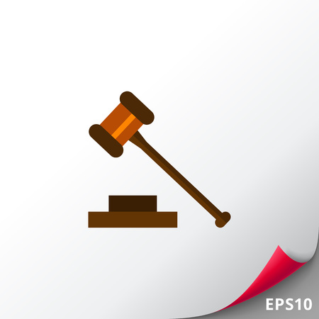 punishment: Multicolored vector icon of judge gavel isolated on white