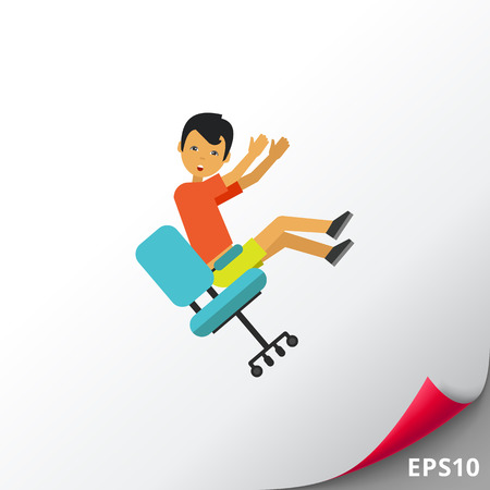 slip homme: Illustration of man falling from chair. Accident, injury, casualty. Falling from chair concept. Can be used for topics like casualty, accident, safety