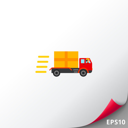 Caminhão com pacote indo rápido. Condução, velocidade, frete. Conceito de entrega. Pode ser usado para tópicos como transporte, logística, negócios.