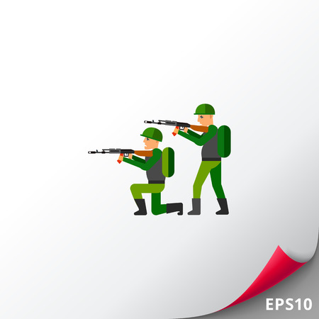 firing: Two military men pointing machine guns. Military equipment, war, threat. Fighting concept. Can be used for topics like war, military equipment, soldiery.