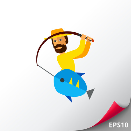 Illustration of fisherman pulling fishing rod with fish. Fishing, leisure activity, hobby, weekend. Fishing concept. Can be used for topics like hobby, fishing, summer time