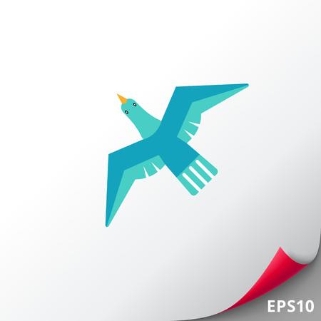 Icon of flying blue bird Illustration