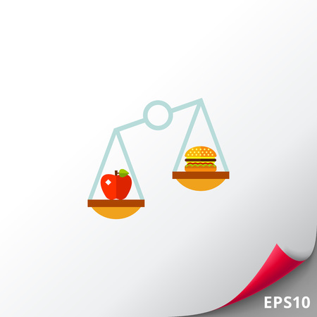 lowfat: Apple and hamburger on scales. Nutrition, balance, food. Nutrition concept. Can be used for topics like nutrition, diet, food