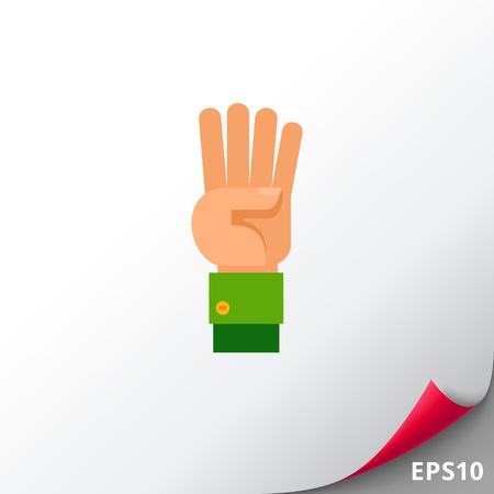 Illustration of left hand with four fingers pointing up. Hand gesture, number, fingers. Hand gesture concept. Can be used for topics like hand gesture, counting, nonverbal communication