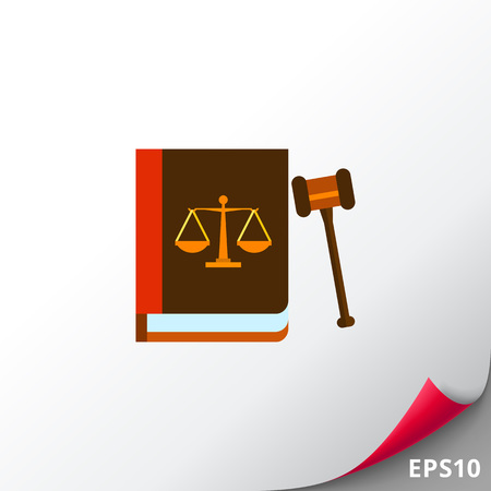 punishment: Illustration of gavel and book with scales image on its cover. Law, legislation, judgment. Law concept. Can be used for topics like law, legislation, justice Illustration