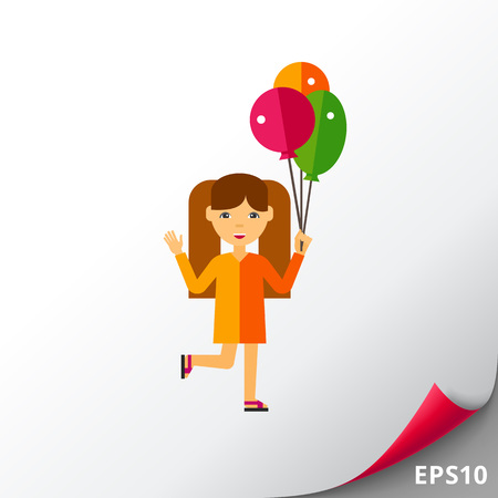 Girl with Balloons Icon Illustration