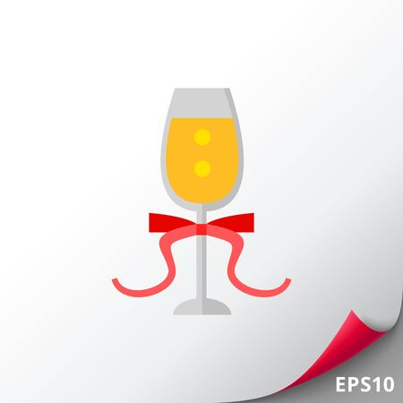 Glass of Champagne with Ribbon Icon