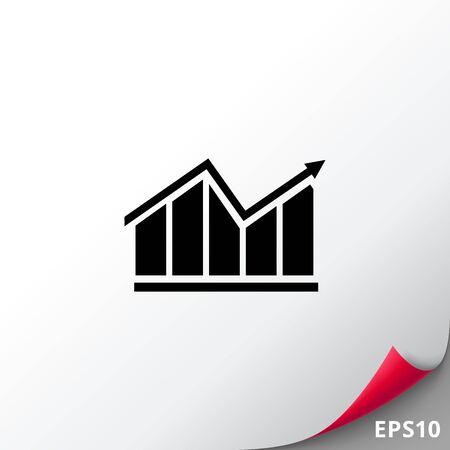 uptrend: Growing bar chart icon Illustration