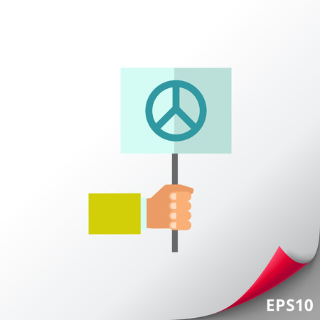 hand holding sign: Hand holding pacifist sign Illustration