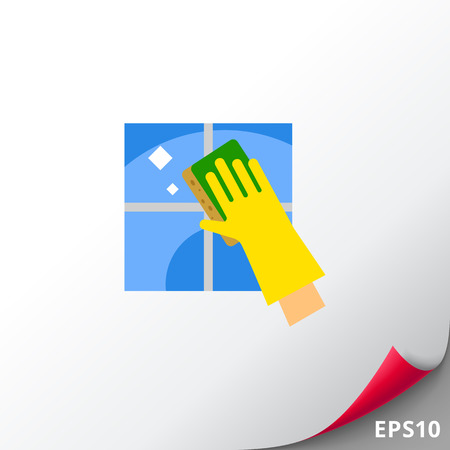 scrubbing: Hand in Glove Cleaning Tile Icon Illustration