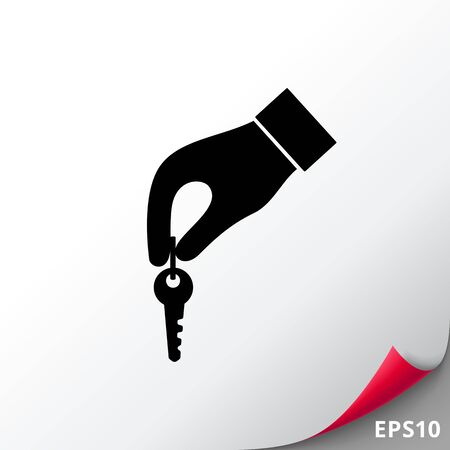 Hand with key simple icon Illustration