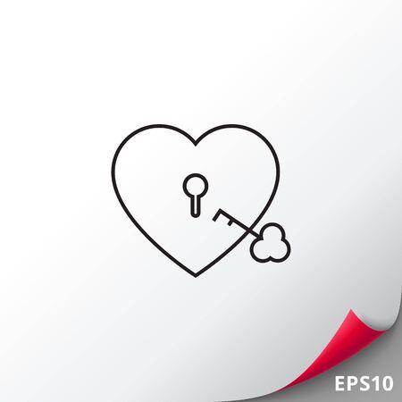 shackle: Heart lock with key Illustration