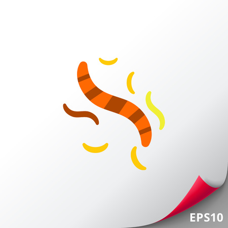 Multicolored vector icon of striped, yellow and orange helminthes