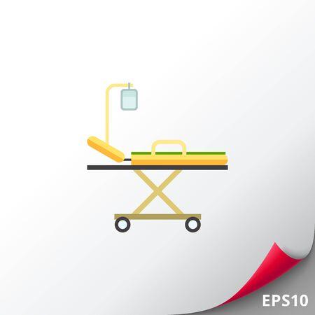 paciente en camilla: Icono de cama de hospital Vectores