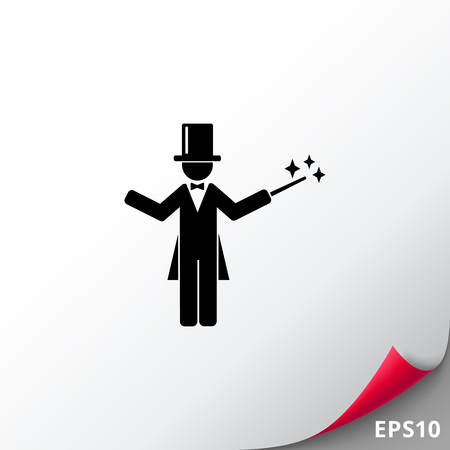 Magician in Cylinder with Wand Icon
