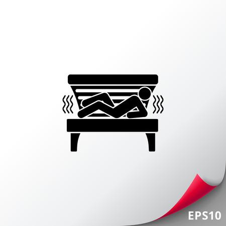 lying in: Man Lying in Solarium Tanning Bed Icon Illustration
