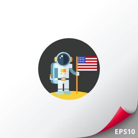 Man on Moon with USA Flag Icon