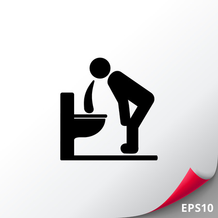 dietology: Man Vomiting over Toilet Icon Illustration
