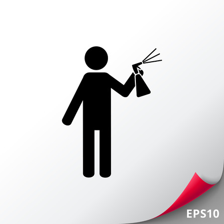 Man Spraying Liquid from Bottle Icon