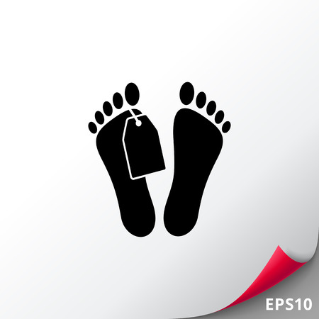 toe tag: Mans feet with tag. Corpse, illness, death. Morgue concept. Can be used for topics like medicine, healthcare, anatomy.